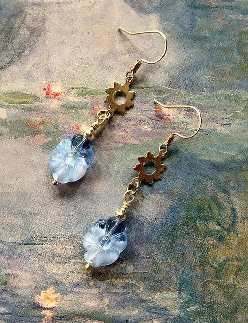 Powder Blue Dangle Earrings, Vintage Sky Blue Glass Flower Givre Beads