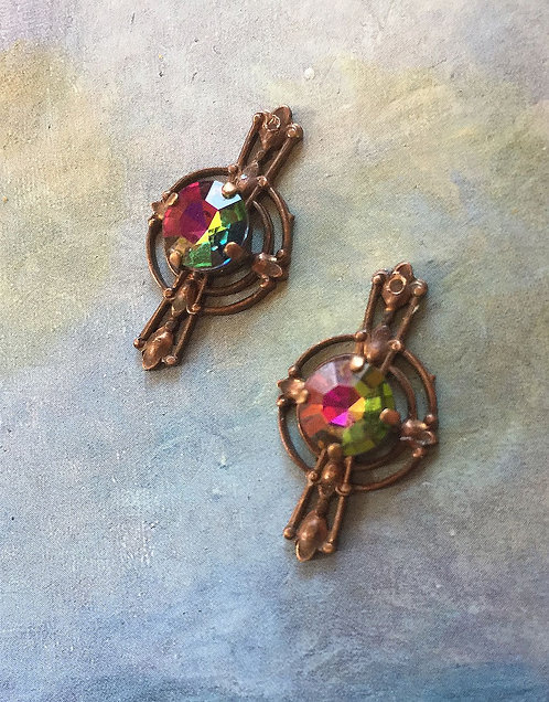 Vintage Ginger Brass Art Deco Earrings w/RARE Vintage Swarovski® Rhinestones