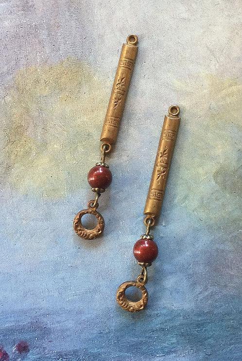 Vintage Art Deco Long Dangle Earrings, Swarovski® Burgundy Pearls