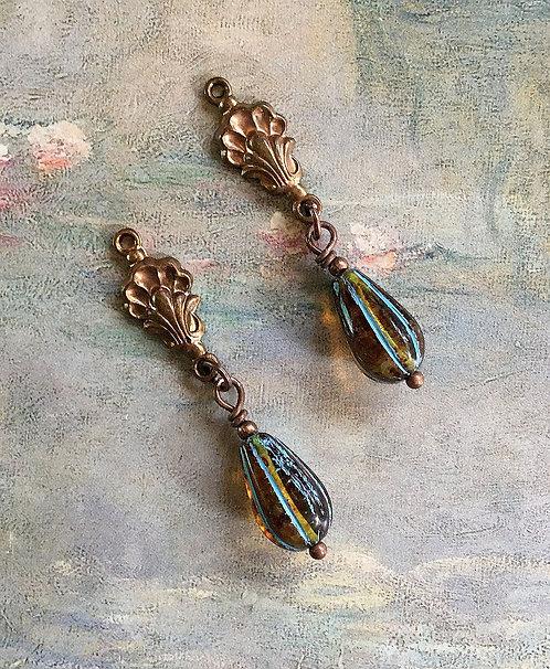 Art Deco Sea Shell Earrings