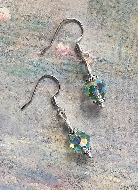 Light Green Dangle Earrings with Swarovski® Brand Chrysolite Crystal Beads