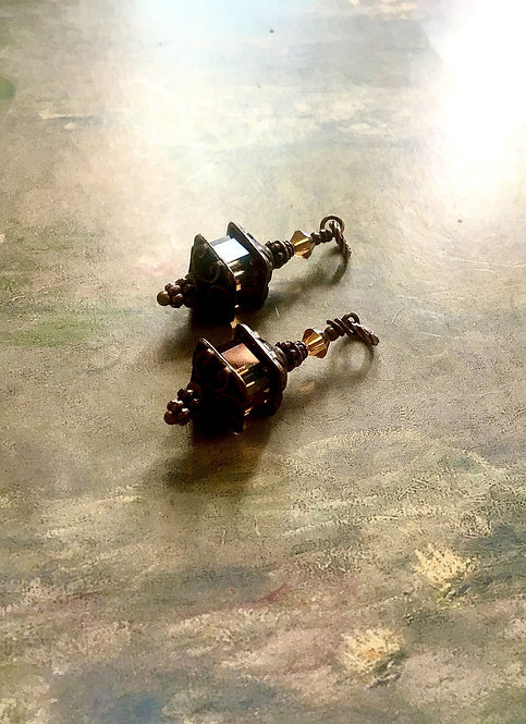 Copper Finish Lantern Earrings with Swarovski® Crystal Copper Cube Beads