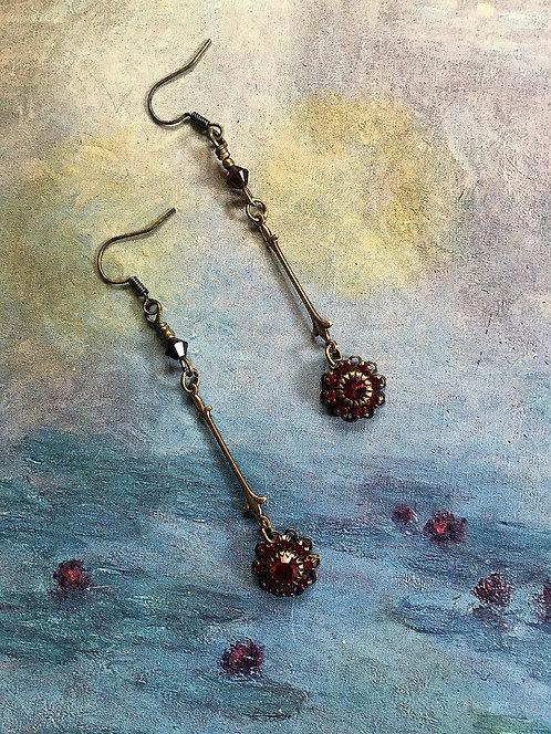Dangle Earrings with Vintage Swarovski® Brand Garnet Rhinestone Flowers