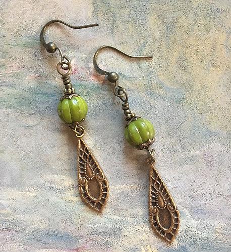 Olive Green Dangle Earrings
