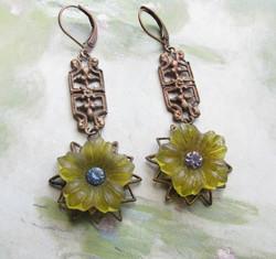 Yellow Flower Dangle Earrings