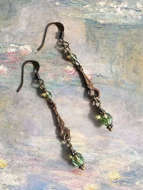 Vintage Olive Green Dangle Earrings