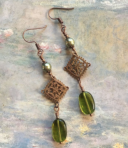 Vintage Filigree Dangle Earrings, Olive Green