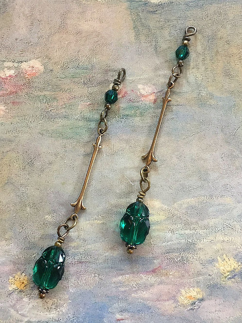 Dangle Earrings with Lush Green Swarovski® Emerald Crystal Scarabs