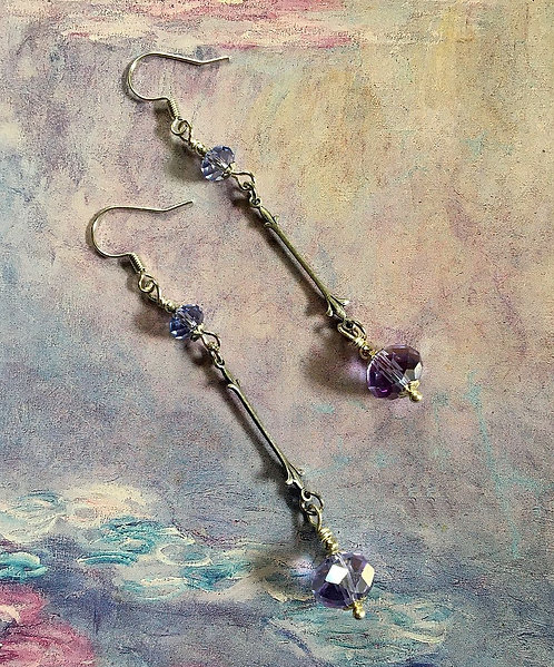 Dangle Earrings with Vintage Swarovski® Brand Purple Crystal Beads