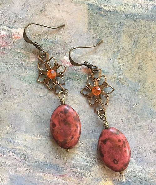 Orange Floral Dangle Earrings