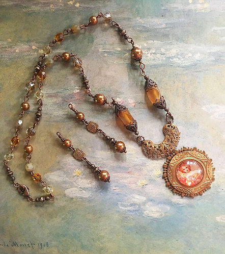 Vintage Alphonse Mucha Pendant Necklace and Earrings Set