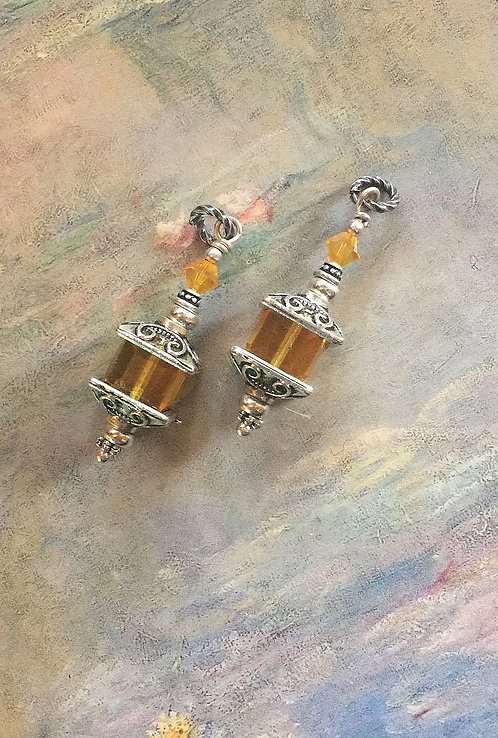 Silver Finish Lantern Earrings with Swarovski® Crystal Light Topaz Cube Beads