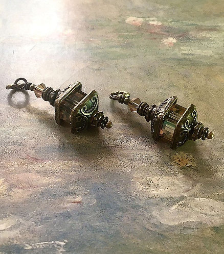 Bronze Finish Lantern Earrings with Swarovski® Golden Shadow Crystal Cube Beads