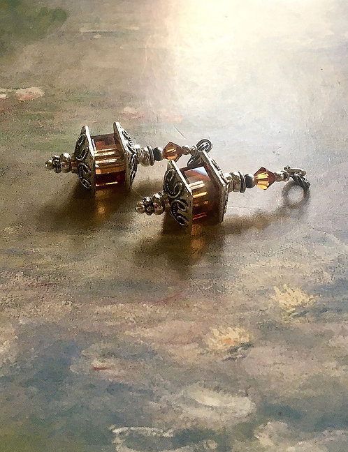Silver Finish Lantern Earrings with Swarovski® Crystal Copper Cube Beads