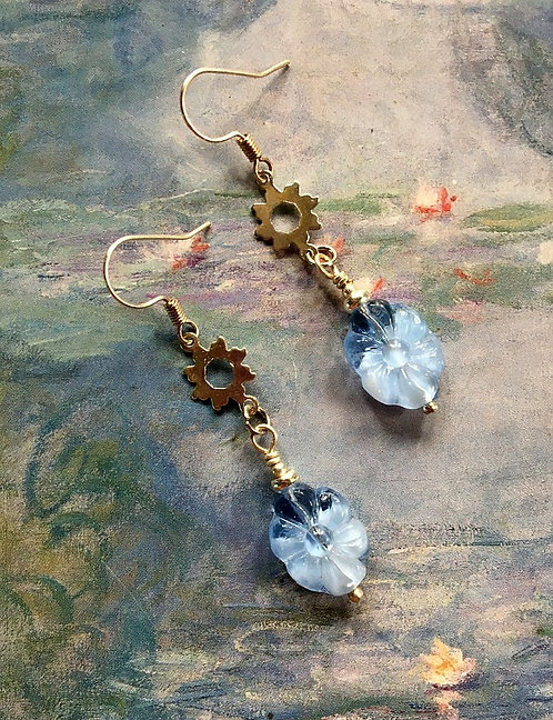 Sky Blue Flower Handmade Dangle Earrings