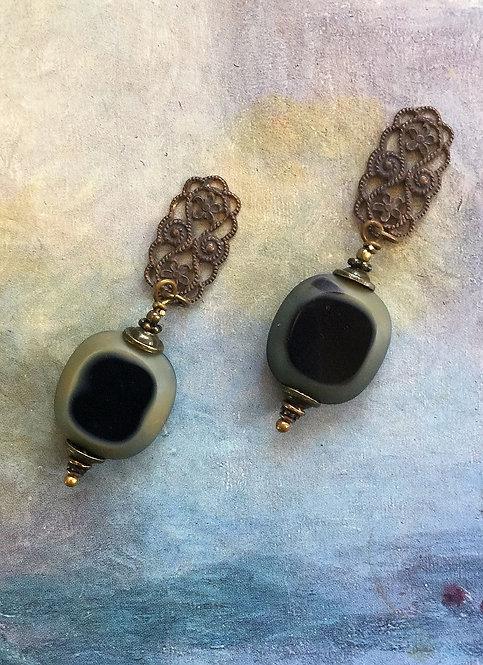 Black Vintage Filigree Earrings