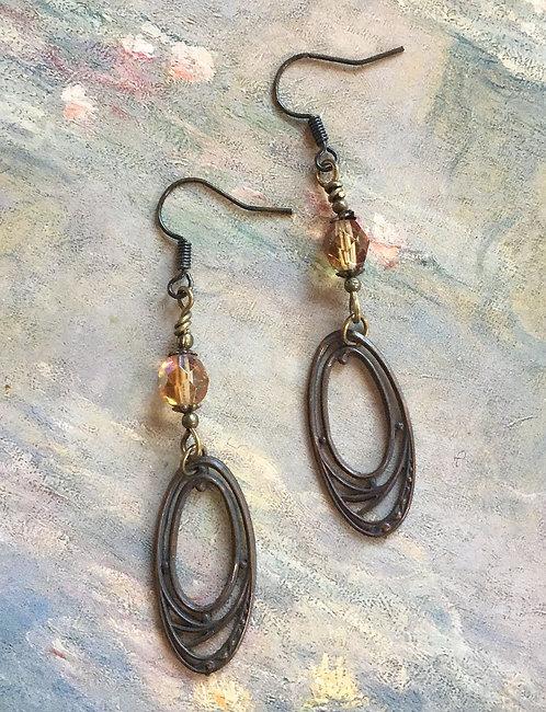 Vintage Art Nouveau Oval Brass Earrings, Crystal Celsian Czech Glass Beads