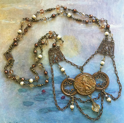 vintage fairy filigree statement pendant necklace and earrings