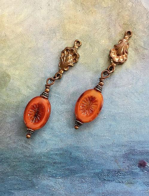 Asymmetrical Persimmon Orange Vintage Ginger Brass Seashell Earrings