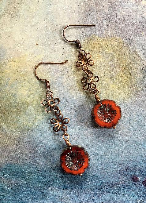 Coral Red Flower Earrings