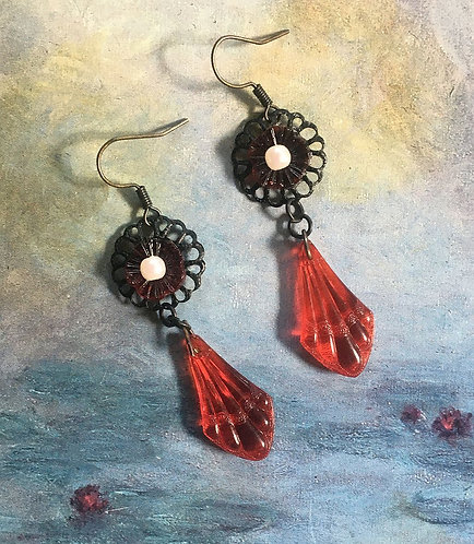 Vintage Black and Red Earrings