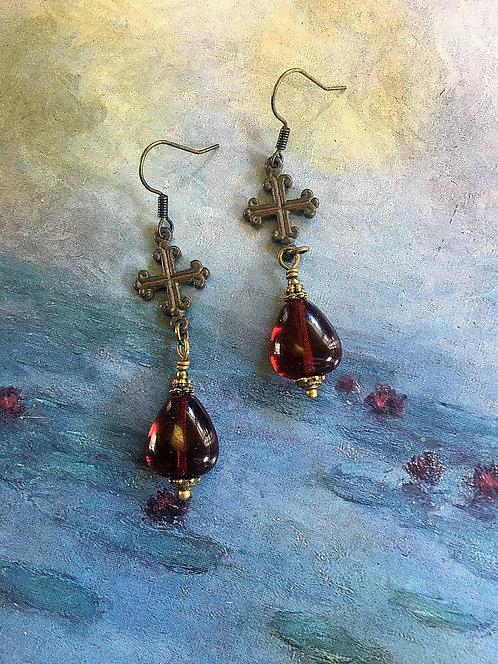 Dark Gothic Cross and Blood Red Garnet Czech Glass Earrings