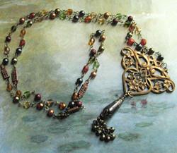 Floral Brass Filigree Necklace