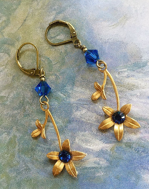 Vintage Brass Flower Dangle Earrings Capri Blue Swarovski Crystals and Beads