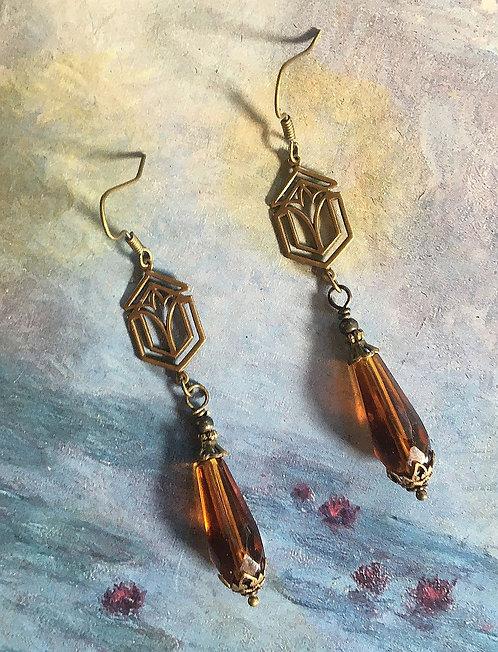 Geometric Art Deco Topaz Dangle Earrings