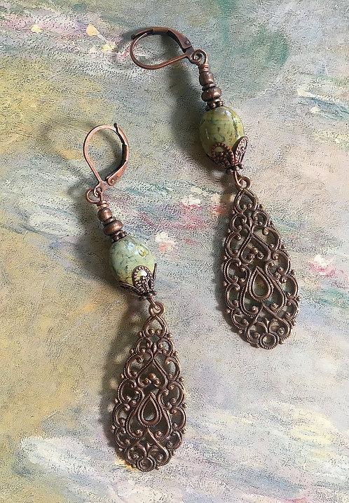 Vintage Art Nouveau Peacock Drops Earrings