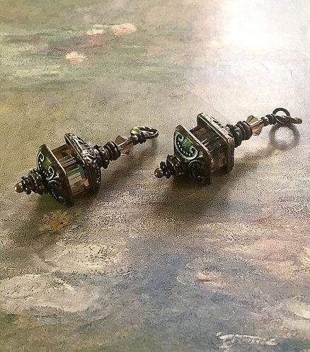 Bronze Finish Lantern Earrings with Swarovski® Golden Shadow Crystal Cube Beads