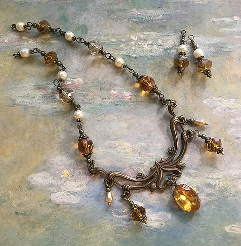 vintage art nouveau rhinestone necklace and earrings set