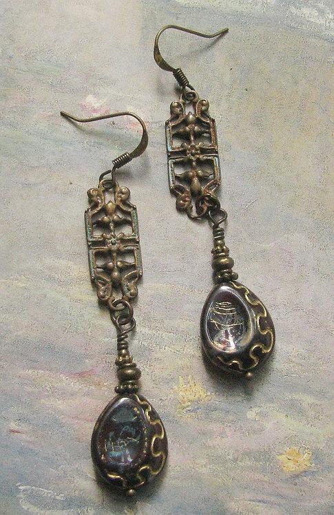 Vintage Brass Filigree Drops, Brown Egyptian Revival Czech GlassTeardrop Beads