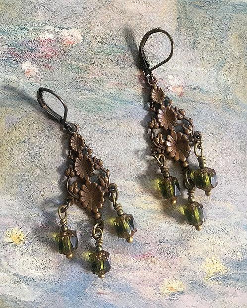 Olive Green Vintage Art Nouveau Flower Chandelier Earrings