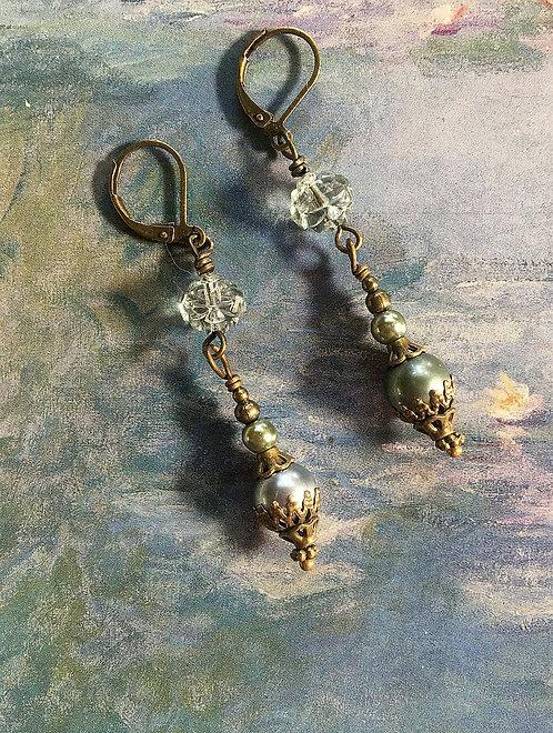 Sea Green Glass Pearl Dangle Earrings
