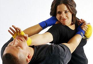 self defense against choke deliver palm strike