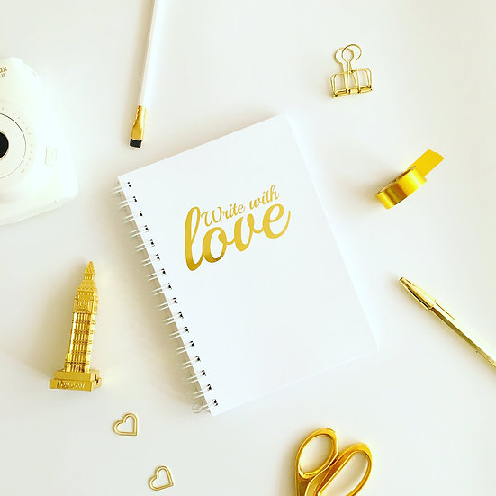 פתיחה אנגלית Write with Love מחברת רעיונות