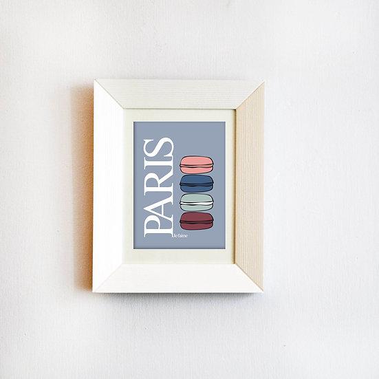 פוסטר פריז - מקרונים כחול