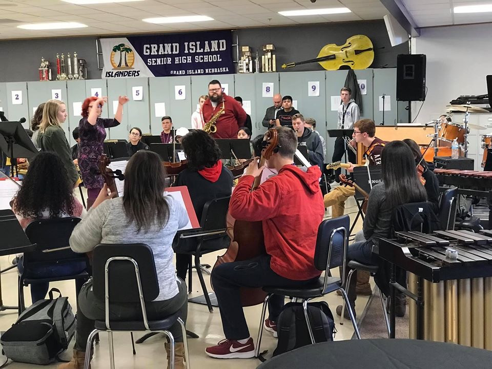 """In-person """"Visit"""" with Grand Island H.S. Jazz Ensemble 2019"""