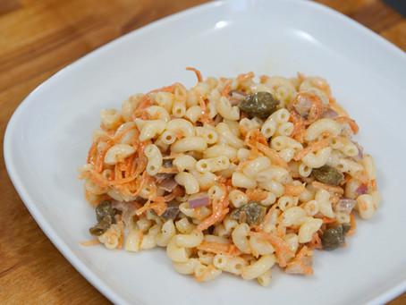 Salade de coquillettes carottes râpées anchois câpres