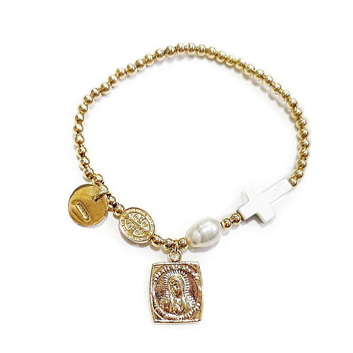 Pulsera cruz Madre perla y medalla virgen