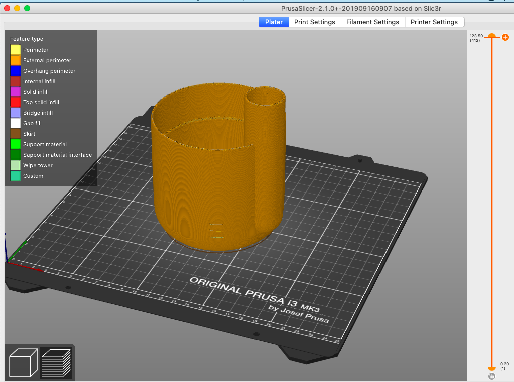 Bottom part of the self-watering planter in the Prusa slicer program