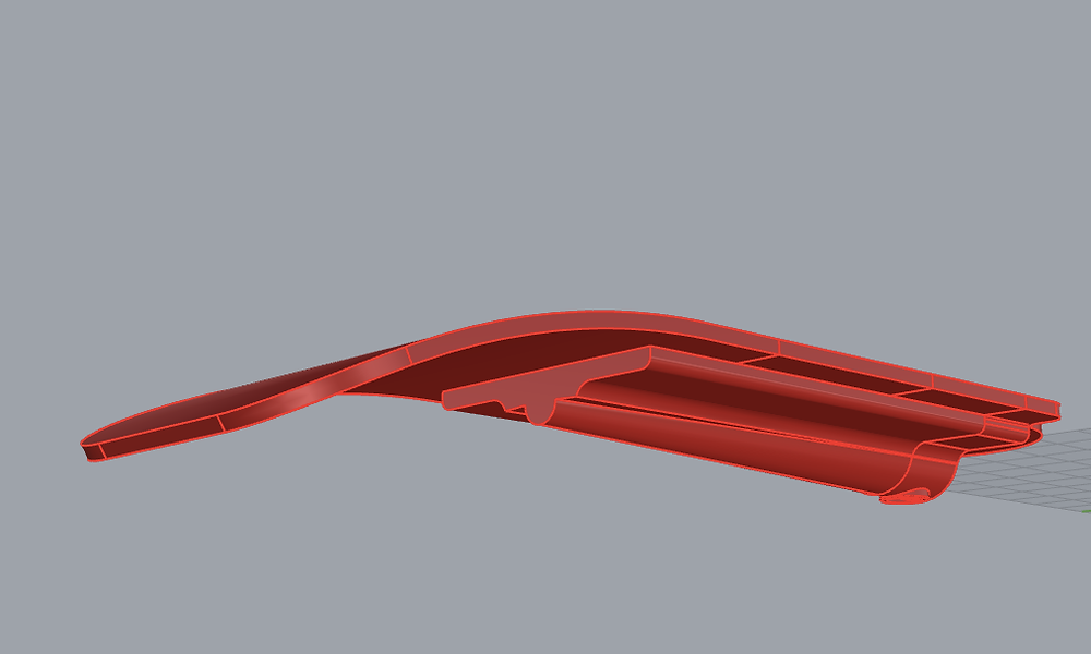 Isometric view of 3D modeled chair armrest