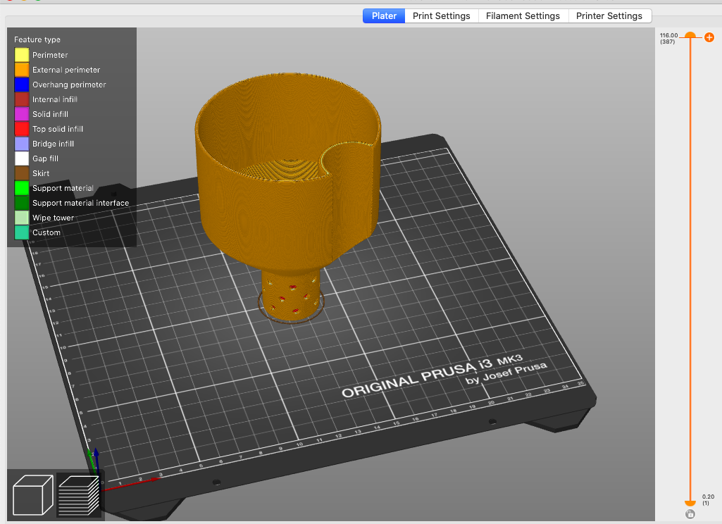 Self-watering planter top part in the Prusa slicer program