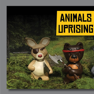 Animal Uprising. The year is 2050. The Earth's resources are on the edge of total depletion. Animals, after centuries of coexisting with humans, are finally fed up. Now that humans have totally destroyed the planet, the animals have no choice but to rise up and fight for the last finite resources remaining on Earth.  Originally built in clay, created a silicone mold and then casted in a two part plastic resin. Hand casted, hand sanded and hand painted. All packaging designed by myself as well.
