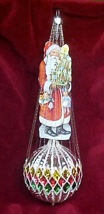 #5510-005 - Wire Wrapped Santa on Waffled Ball, Multi-Colored