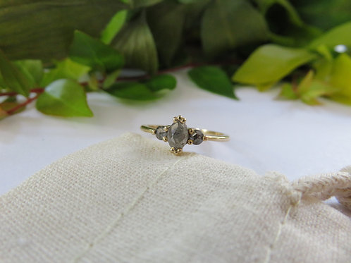 Grey Marquise Salt and Pepper Diamond in 9ct Gold Ring