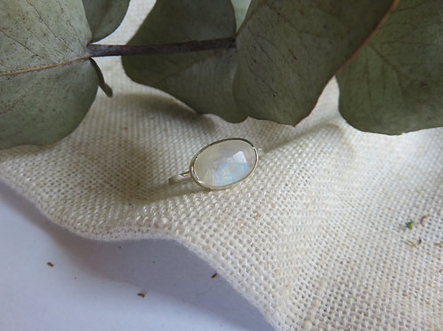 Natural Rainbow Moonstone Sterling Silver Ring
