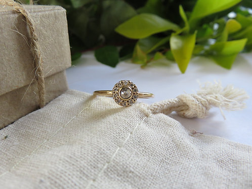 Light Grey Salt and Pepper Diamond Halo Ring in 9ct Yellow Gold