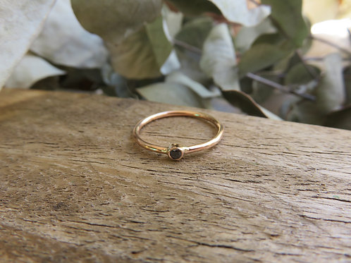Petite Black Diamond and Gold Ring